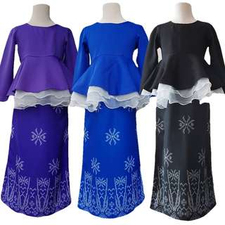 Baju kurung peplum organza for girl