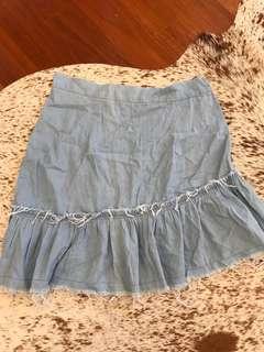 Trouble Maker Denim Frill Skirt