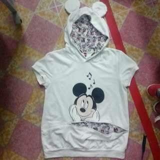Women short sleeve sweatshirt Hoodie mickey mouse