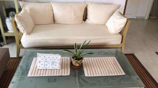 Sofa + Table with Glass Top + 3 Set of Sofa Cushion Covers