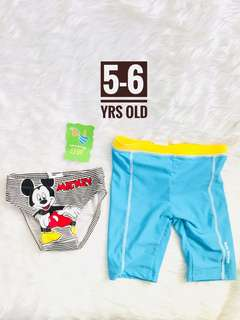 Swimwear swimsuit mickey mouse brief and cycling short