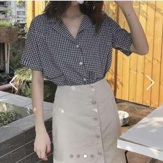 Instock Grid Short Sleeves Blouse