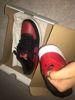 Black and red air force 1s size 6.5
