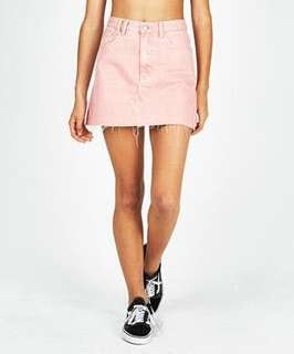 Insight pink denim a-line mini skirt