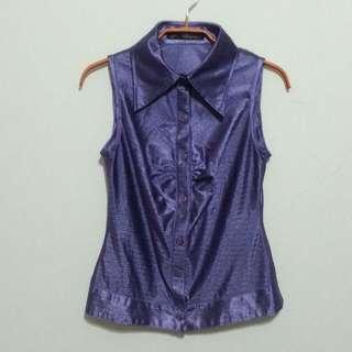 亮麗紫無袖襯衫