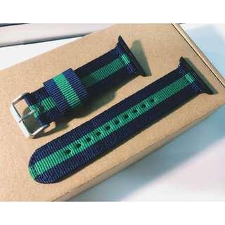 apple watch 42mm 錶帶 尼龍 藍綠 DW 手圍細可以用