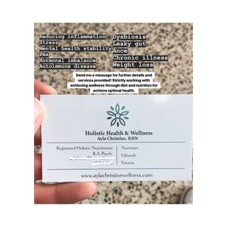 Registered holistic nutritionist health services