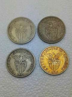 Vintage US-Phil Administration Coins,Silver,1907,1908,1909,1910