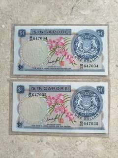 2 PCS SINGAPORE $1 ORCHID GKS B/35 647034-35 RUN XF+/AU
