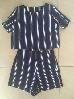 Sports girl navy blue and white striped set