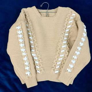 Knitted Light Brown With White Stripe Design