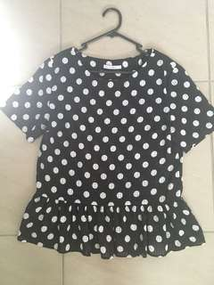 Luck and trouble polka dot peplum top