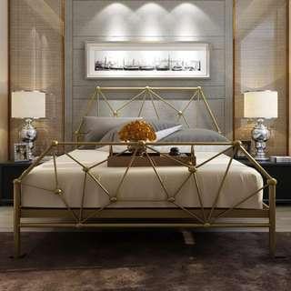 American minimalist geometric bed frame bed