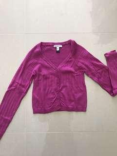 Mango Pink Crop Cardigan Size M