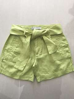 Zara Lime Green Linen Shorts Size XS