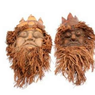 出售收藏 早期 竹筍頭 雕件(一對)