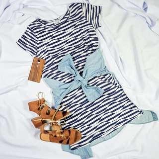 Zara Blue and White Shirt Dress