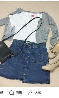 韓國深藍色牛仔鈕扣短裙