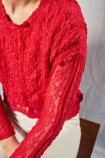 Kamiseta Red Lace Top