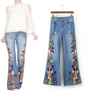2018 Spring and Summer European and American style heavy embroidery women's flare jeans
