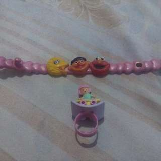 Collectibles Original Sesame Street bracelet and Polly Pocket ring