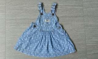 Oshkosh denim polka dots dress