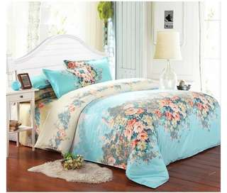 Blue Flower Single Size Bed Set Pillowcase Quilt Duvet cover