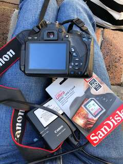 Canon 650D body + battery & charger + 16GB SD card