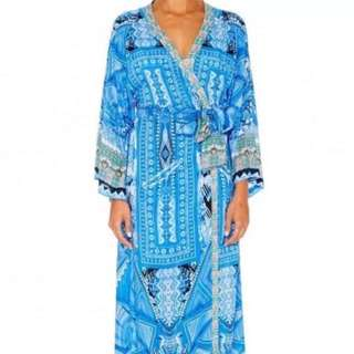 As New Luxury CAMILLA Robe Dress Long Sleeve With Tie Beautiful