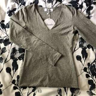 Luvalot Grey Long Sleeve V-Neck Shirt - Size 8 - peppermayo, white fox, mura, showpo