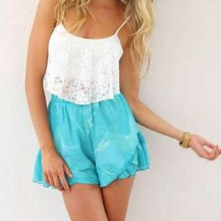 """Sabo Skirt Boutique """"The Hills"""" shorts in blue/turquoise ocean print - Size XS"""