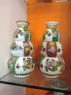 AntiqueVase  清末双胡盧瓶一对 識款乾隆年製