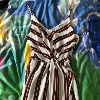 Sheike Dress in Maroon/Off-White Stripe - Size Small