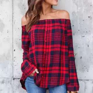 NEW! Plaid Off Shoulder Top