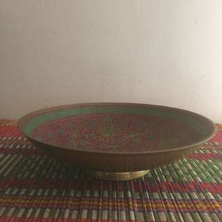 "7.5"" brass bowl with peacock motif"