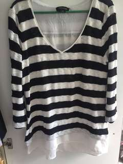 Black and white stripe V neck sweater