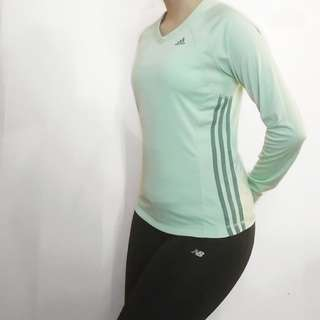 Adidas long sleeve workout activewear green shirt stripes