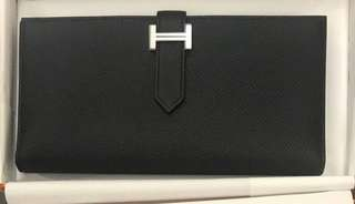 BNIB Authentic Hermes Bearn Wallet in Black Epsom Leather and PHW