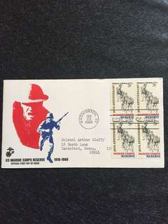 US 1966 Marine Corp Reserve Blk4 FDC stamps