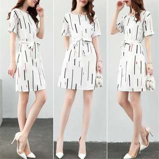 Dress White Office Pattern PO OL Plus Size Ribbon tie aesthetic