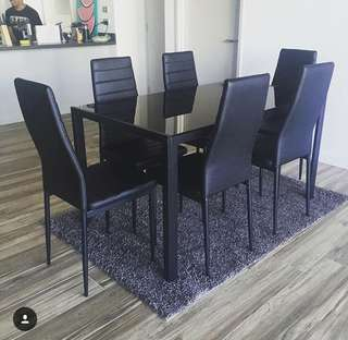 Glass Dining Table with 6 PU Leather Chairs