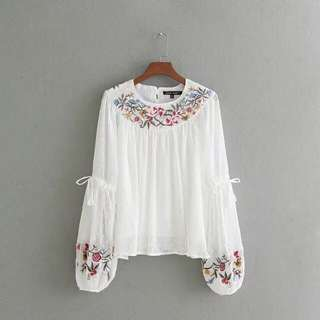 Zara Inspired Embroidery Blouse