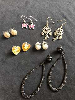 Earrings Galore!!! 6x New and Preloved Heart/Disco Ball/ Hoop/ Butterfly Earrings for $5 total