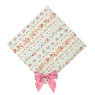 Maison de FLEUR Blue Antique Flower Ribbon Handkerchief