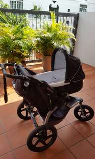 Baby bassinet/carrycot for Bob stroller with adapter, raincover, matress, linen, 100% washed