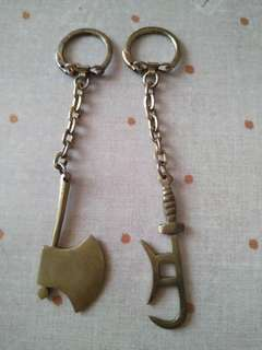 中國武器做型手工銅製金屬匙扣,有褪色和歲月留痕,完美主義者勿入。