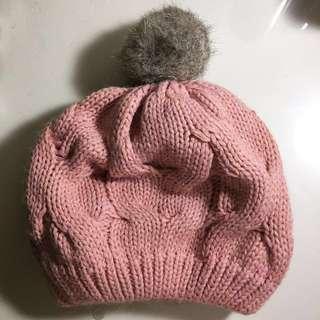 🚚 粉色保暖毛帽