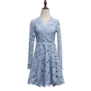 Lace baby blue hugh quality dress
