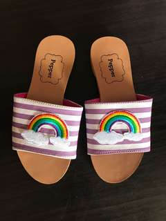 Rainbow slip on sandals