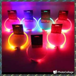 🚚 全新 寵物USB夜間發光項圈 紅色中款